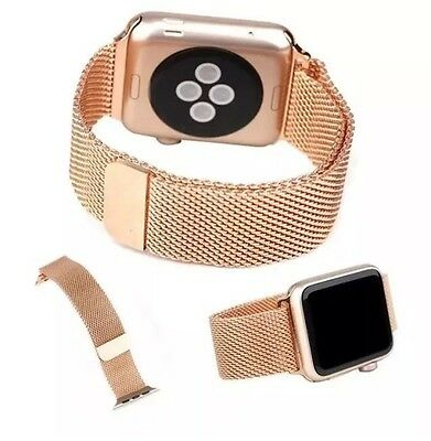 Rose Gold Milanese Magnetic Stainless Steel iWatch Band Strap 42mm Apple Watch