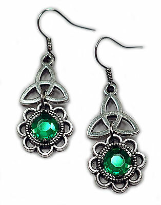 CELTIC Triquetra Trinity Silver Medieval RENAISSANCE Irish EARRINGS Stones NEW