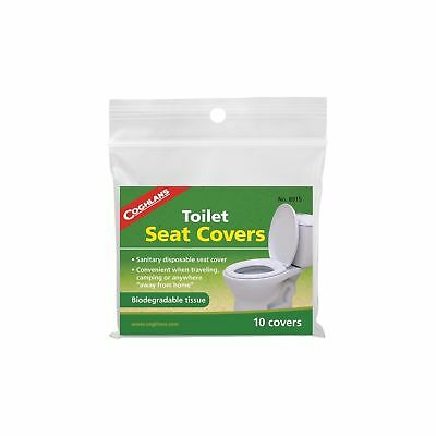 Coghlan's Toilet Seat Covers 10-Pack Biodegradeable Tissues Camping Sanitary
