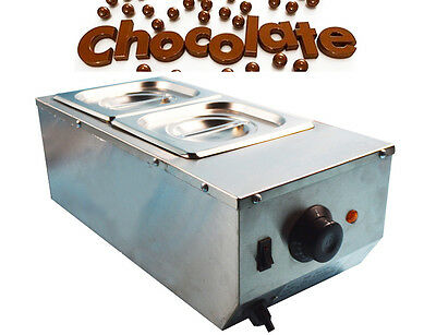 2 Pans Well Bain Marie Chocolate Melter Warmer Stainless Steel Water Heater