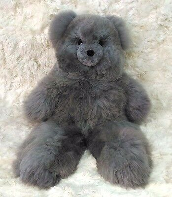 "40"" Gray Plush Alpaca Teddy Bear. 100% Baby Alpaca. 40 Inches tall. Handmade Toy"