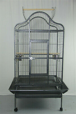 Large New Canary Bird Parrot Cage Aviary Budgie With Stand Castor Perches Wheel