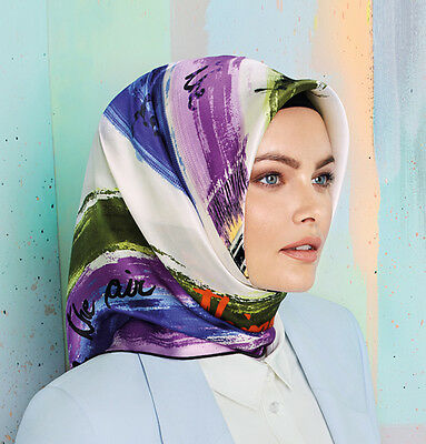 Armine Turkish Silk Hijab Square Scarf Spring 2015 #6441 White / Multi