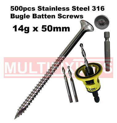 500pcs - 14g x 50mm SS316 Stainless Bugle Batten Screws + Clever Tool
