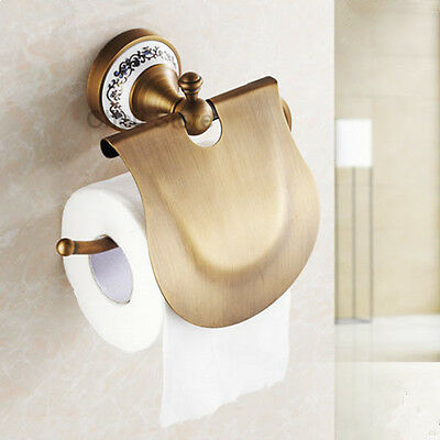Antique Brass Bathroom Wall Mounted Toilet Paper Holder Tissue Paper Roll Holder