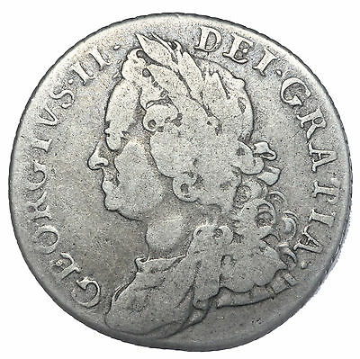 1758 Shilling - George Ii British Silver Coin