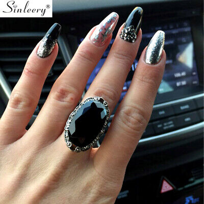 2017 New Vintage Big Black Oval Rings For Women Size 7-10 Antique Silver Plated
