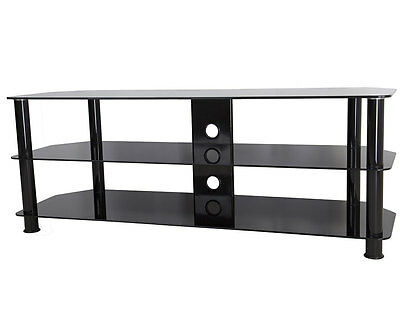 "Black Gloss Glass TV Stand Suitable For LCD LED TVs 40 42 47 55 60"" -114cm width"