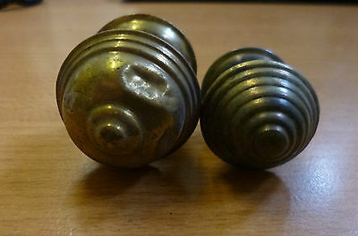 Two Reclaimed Antique Spun Brass Screw-in Cabinet Knobs - different sizes