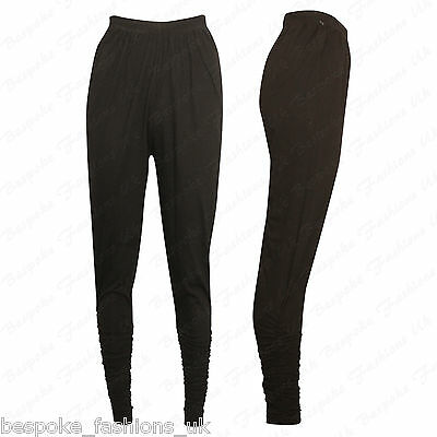 Ladies Women's Desi Asian Indian Churidaar Ruched Trouser Leggings One Size 8-14