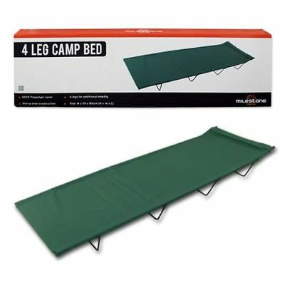 Travel Festival Camping & Outdoor 4 Legged Folding Camp Bed + Green Carry Case
