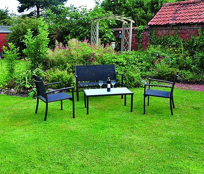 4PC Patio Conservatory Table and Chairs Sofa Set Outdoor Garden Furniture