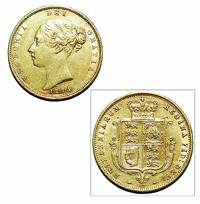Pre-Owned 1874 Half Sovereign 22ct Gold Coin. Queen Victoria Young Head & Shield
