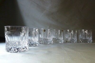 Tudor Crystal whisky glasses x6, Frobisher cut, flawless, signed, labels on