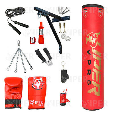 Boxing Punch Bag Set 13 Piece 5ft heavy Filled, Bracket, Gloves, Chains MMA