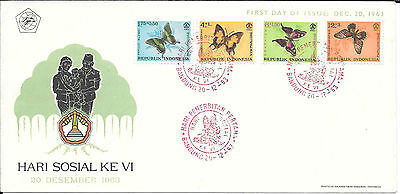 Indonesia 1963 Butterfly Issue Social Day Dec 20th First Day Cover
