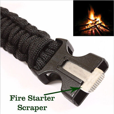 4 in 1 Flint Fire Starter Whistle Gear Camping Survival Bracelet Parachute Cord