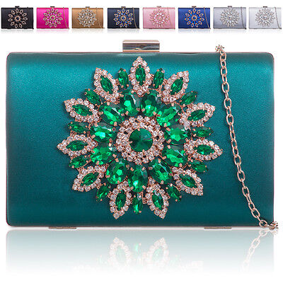 Stoned Women Bridal Satin Clutch Bag Ladies Evening Prom Bridesmaid Party Bag UK