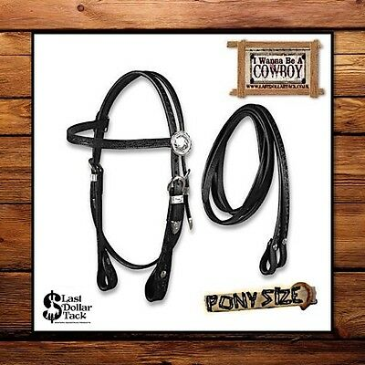 Small Pony Size ~ Silver Horse Western Bridle & Reins ~ Black Tooled Leather