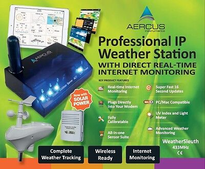 Aercus™ WeatherSleuth® Pro IP Wireless Weather Station with Real-time Internet