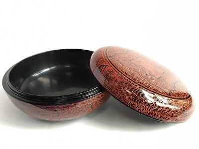 Unsued Vintage Real Wooden Lacquer Jikiro Traditional Japanese Sweet Serving Box