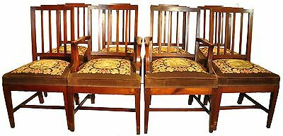 Elegant Set of Eight 8 Hepplewhite Inlaid Mahogany Dining Chairs, Needlepoint