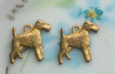 Wired Hair Fox Terrier,Vintage Dog Charm Pendant Dogs Antique Brass Ox #1381F