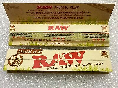 2 Packs Raw Organic Hemp King Size x64 Rolling Papers Total