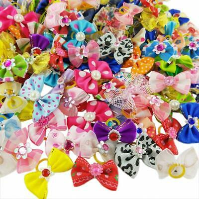 3-100pcs Wholesale  Multicolor Pearl Flowers Mix Pet Dog Hair Bow  Rubber Bands