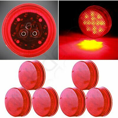 """6x Red 2.5"""" Round Shape 13Diodes Truck Trailer Light Side Marker Clearance Lamp"""