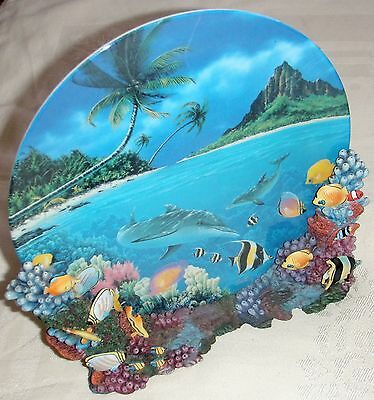 """Collectors Plates (2) """"Colors of The Sea"""" Anthony Jones 3D Colors RARE Dolphin's"""