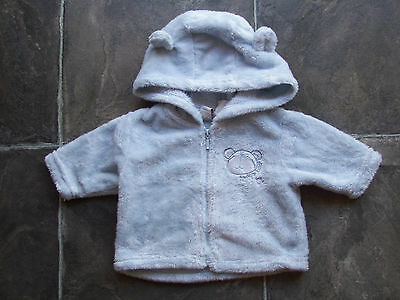 Baby Boy's Blue Fluffy Hoodie/Hooded Jacket/Coat Size 000 EUC