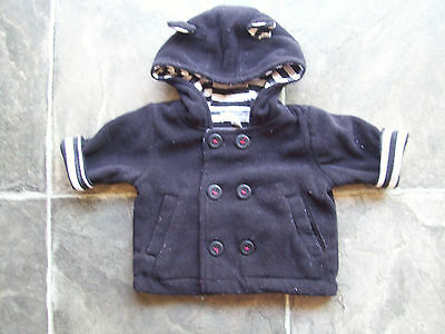 Baby Boy's Pumpkin Patch Black Fleece Hoodie/Hooded Jacket/Coat Size 000 VGUC