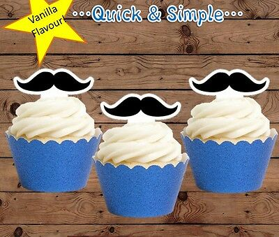 Moustache EDIBLE wafer Cupcake Toppers cake PRE-CUT birthday baby shower