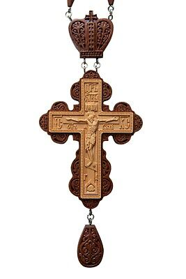 Russian Orthodox Priest Pectoral cross award. Carved Wooden Crucifix#1