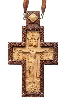 Russian Orthodox Priest Pectoral cross award.  Carved Wooden Crucifix#7