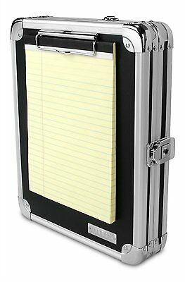 Aluminum Locking Storage Clipboard Hard Black Store Solid Briefcase Paper Case