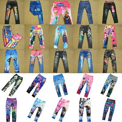 Cute Cartoon Frozen Skinny Leggings Casual Stretchy Pants Trousers Children Kids