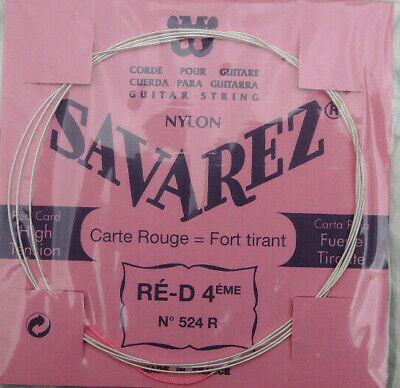 Corde RE D 4 eme NYLON Hight Tension RED Card SAVAREZ Carte rouge France 524 R