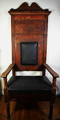 Antique Odd Fellows Chair Wood Leather Carved Gothic Throne 1800's FLT Links