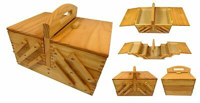 3 Tier Cantilever High Quality Wood Wooden Sewing Box with Handle 31x23x23cm