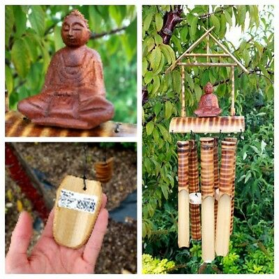Buddha Bamboo Windchimes - Tiger Stripe Carved Wooden Wind Chimes Garden