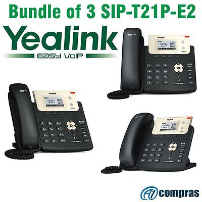 Yealink SIP-T21P-E2 Pack of 3 Entry level IP phone 2 lines HD voice, with PoE