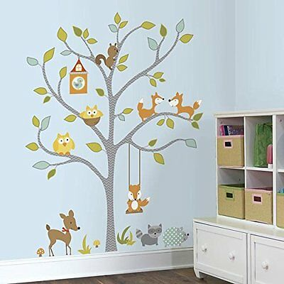 RoomMates Woodland Fox and Friends Tree Peel and Stick Wall Decals, New, Free Sh