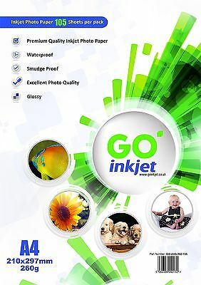 100 Sheets A4 260gsm Glossy Photo Paper for Inkjet Printers by Go Inkjet