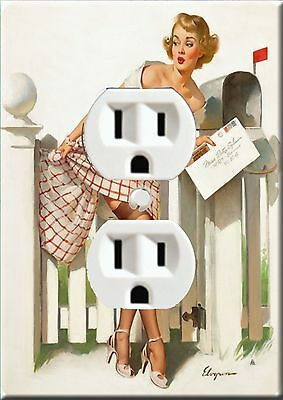 Electrical metal outlet covers plate art Pinup painting designs #0001