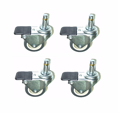 """Set of Four Swivel Casters with 2"""" TPR Soft Rubber Wheels & 7/16"""" Grip Ring Stem"""