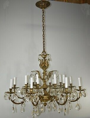 Antique Oversized Sixteen Light Bronze and Crystal Chandelier