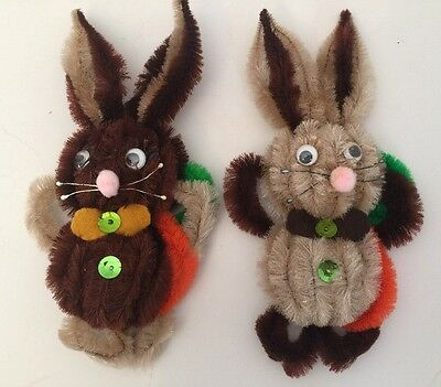 "Vintage Lot Of TWO 8"" Tall Chenille Easter Bunny Rabbit Refrigerator Magnets"