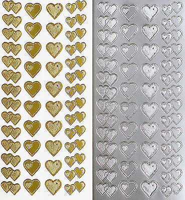 TWO TONE HEARTS PEEL OFF STICKERS Double Single Heart Love Wedding Engagement